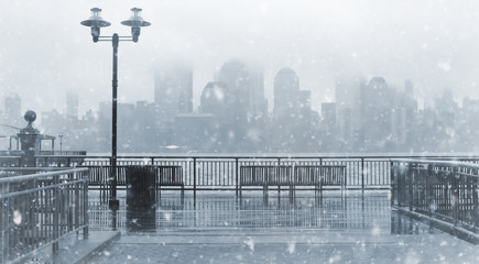 Toned photo of New York City skyline on a snowy day