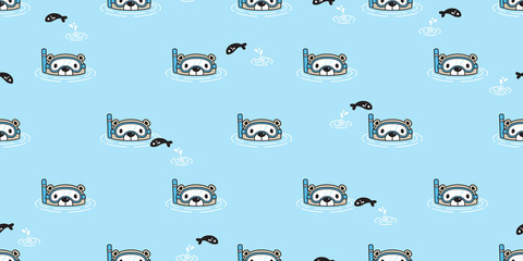 Bear seamless pattern vector polar bear diving swimming pool scarf isolated cartoon illustration tile background repeat wallpaper doodle © CNuisin