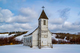 Abandoned country church in winter