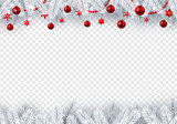 Christmas and New Year transparent background with fir branches and red Christmas balls.