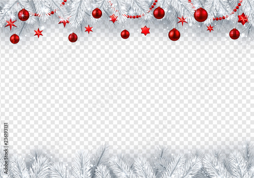 Christmas and New Year transparent background with fir branches and red Christmas balls. - 236193131