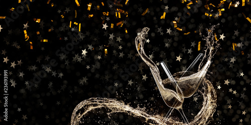Leinwandbild Motiv Glasses of champagne, celebration theme.