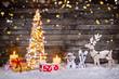 Leinwanddruck Bild - Christmas tree decoration on wooden background
