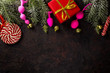 Various sex toys anal balls, vibrator, fur handcuffs and others, christmas balls and candy.