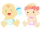 boy and girl bring nursing bottle for drink milk