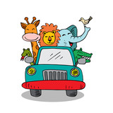 Cute animals in car on road. White background.