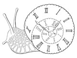 Snail clock graphic black white isolated sketch illustration vector - 236221184