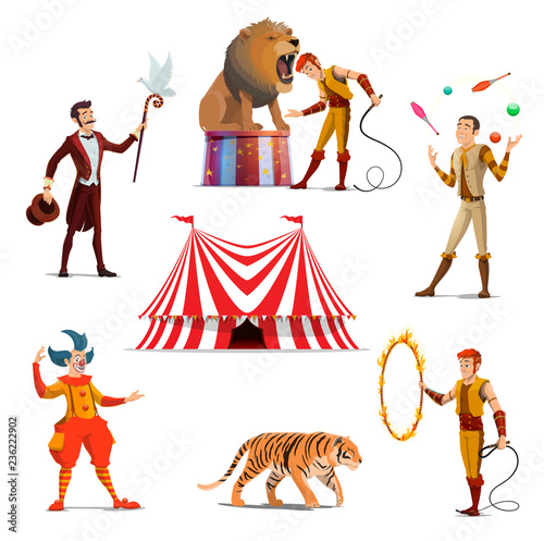 Circus big tent, trainer, magician, clown, juggler