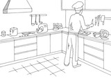 Cook cutting ingredients at the restaurant kitchen room graphic black white interior sketch illustration vector - 236223399