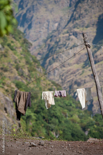 cloths and clothes line in high mountain - 236225345