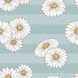 Chamomile flower graphic color seamless pattern background sketch illustration vector - 236226313