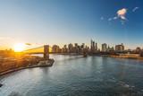 Panoramic view of Brooklyn bridge and Manhattan at sunset, New York City - 236231709
