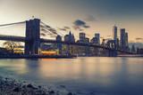 Brooklyn bridge East river and Manhattan after sunset, New York City - 236231742