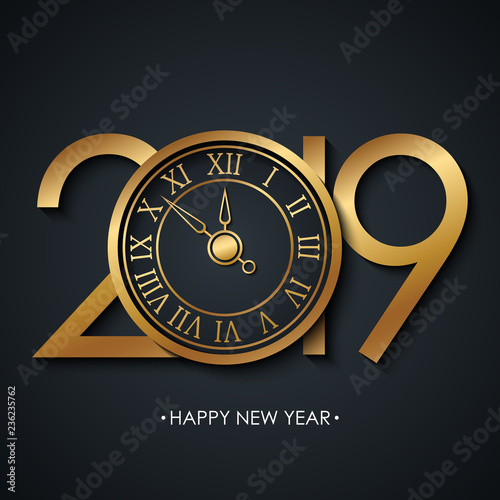 2019 New Year greeting card with holiday greetings Happy New Year and golden colored new year clock on black background. Vector illustration.