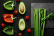 Healthy food clean eating selection on gray background