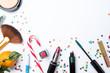 Leinwandbild Motiv Picture on top of eye shadows, brushes, sugar cane ,nail polish on white table