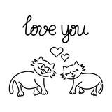 Cute, loving cats. Hand drawn vector illustration. Inscription Love, heart.