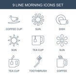 morning icons. Set of 9 line morning icons included coffee cup, sun, dish, tea cup, toothbrush, coffee on white background. Editable morning icons for web, mobile and infographics. - 236244133