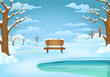 Winter day illustration. Snow covered wooden bench by the frozen lake with leafless trees and snowy ground.