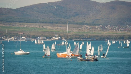Sailboats participate in sailing regatta. Sailing boats on the sea.