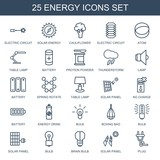 energy icons. Set of 25 outline energy icons included electric circuit, solar energy, cauliflower, atom, table lamp on white background. Editable energy icons for web, mobile and infographics.