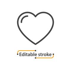 Heart line icon. Editable stroke.