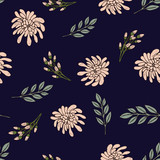 Spring seamless pattern with flowers and leaves - 236247509