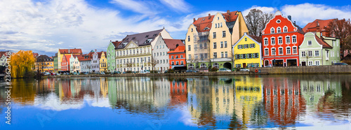 Leinwandbild Motiv Travel in Germany. Best of Bavaria- beautiful Landshut town in Isar river. Traditional colorfu houses