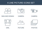 picture icons. Set of 6 line picture icons included man and woman, camera, girl, photos on white background. Editable picture icons for web, mobile and infographics.