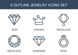 jewelry icons. Set of 6 outline jewelry icons included gem, crown, necklace, diamond, ring on white background. Editable jewelry icons for web, mobile and infographics.