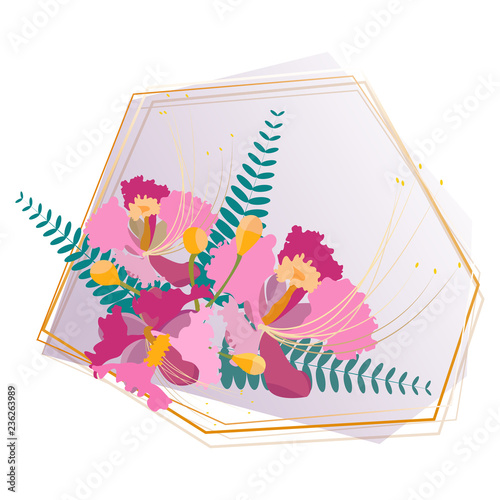 vector of pink sompor or orchid flowers bouquet - 236263989