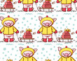 Seamless pattern with cute cartoon pigs - 236265363