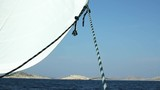 Sailing in the calm. Jib sail headsail moves in the wind - 236268314