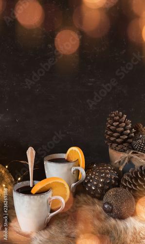 Leinwandbild Motiv Christmas time with a hot drink