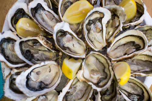 oysters with lemon - 236274112