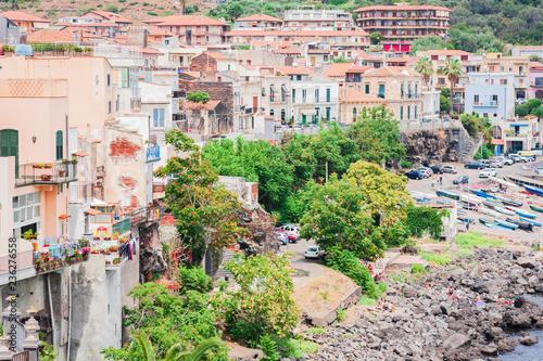 Cityscape of Acitrezza, view from the sea side of Acicastello, Catania, Sicily - 236276558