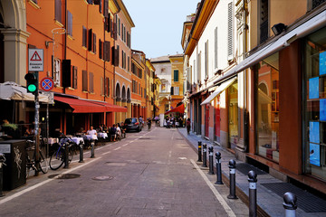 A quiet street in the City of Bologna, Italy.