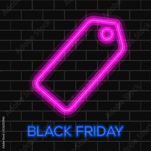 Czarny piątek tło z neon pusta etykieta. Projekt ilustracji wektorowych