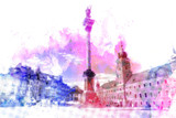 Warszawa Plac Zamkowy w kolorze