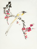 plum blossom branch and bird of paradise - 236300716