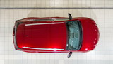 Top view of cars entering to the workshop service station timelapse