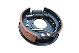 Automobile braking system. Truck brake drum mechanism Isolated on white background.
