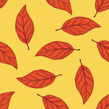 Seamless Pattern with Red Dried Beech Leaf - 236315936