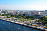 High angle view of Port in Havana Cuba. Street and buildings.