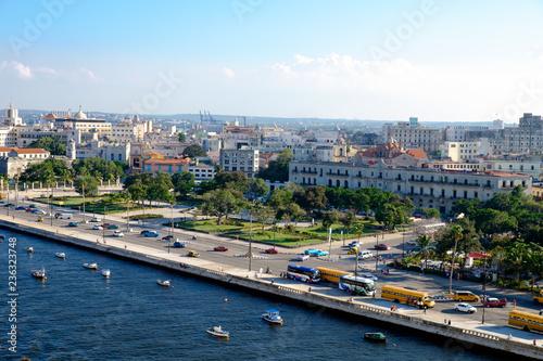 fototapeta na ścianę High angle view of Port in Havana Cuba. Street and buildings.