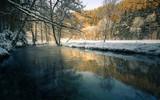 Winter Winterlandschaft , Fluss mit Schnee und Sonnenlicht - Kirnitzschtal Elbsandsteingebirge - 236326753
