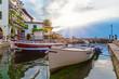 Quadro Fischerboote im Hafen von Limone am Gardasee bei Sonnenaufgang, Brescia, Lombardei, Italien