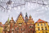 Christmas citylandscape - the Old Town Hall of Wroclaw (Stary Ratusz, Breslauer Rathaus) on the Wroclaw Market Square, Poland