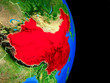 China on realistic model of planet Earth with country borders and very detailed planet surface.