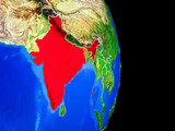 India on realistic model of planet Earth with country borders and very detailed planet surface.